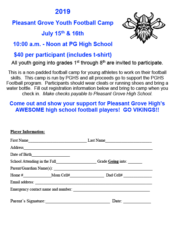 2019 PGHS Youth Football Camp Flyer